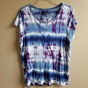 SIMPLY VERA  Blue Purple Tie Dye Knit Shirt, XL